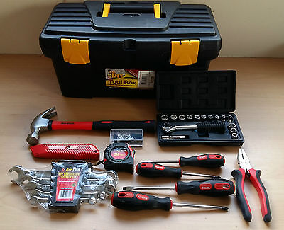 "66pc Tool Box Set Household Tools 16"" Box Handy Kit House Boat"