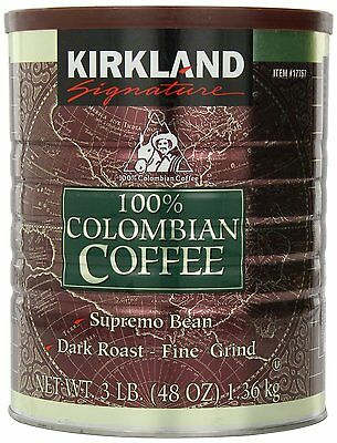 Kirkland Signature 100% Colombian Filter Coffee Tin 1.36Kg Fine Grind-Dark Roast