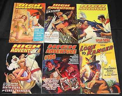 High Adventure Pulp Reprint Lot 6pc Lone Ranger Crime Western Good Girl