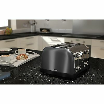 Swan Metallic Graphite Electric 4 Slice Stainless Steel Toaster ST16010GRAN