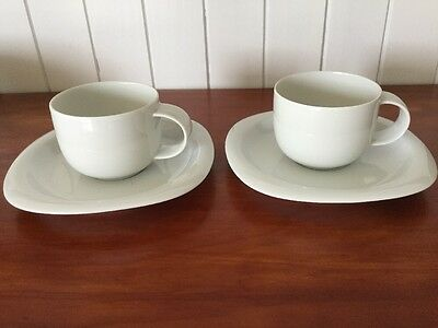 2 X Rosenthal Suomi White Cups And Saucers