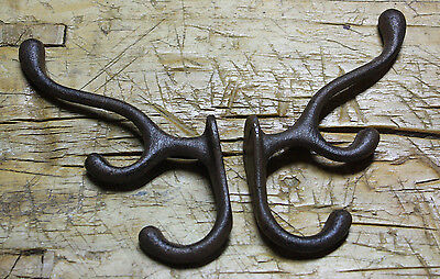 4 Cast Iron TRIPLE SCHOOL Style Coat Hooks Hat Hook Rack Hall Tree Restoration