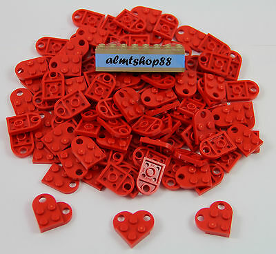 LEGO - 3x2 Red Plates w/ Hole - Heart Charm Love Valentine Coupling Lot 3176