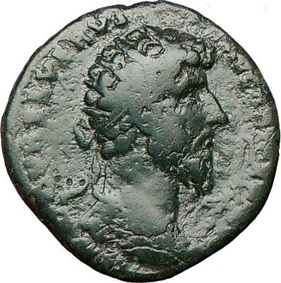 LUCIUS VERUS 161AD Large Ancient Roman Coin Nude MARS War God w trophy  i24229