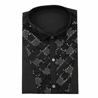 Mens Slim Fit Black Sequence Wing Tip Collar Tuxedo Fancy Dress 70's Party Shirt