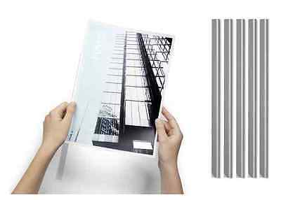 10 A4 SLIDE BINDERS SPINE BARS 9MM TRANSPARENT DURABLE - CLEAR 90 sheet capacity