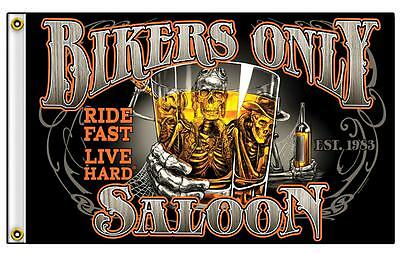 BIKERS ONLY SALOON 3 X 5 MOTORCYCLE DELUXE BIKER FLAG #694 new SKELETON W DRINK