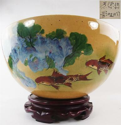 Large Japanese Signed Studio Pottery Bowl On Carved Wood Stand