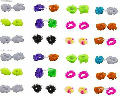 Pack Of 2 Ladies/Girl Chiffon Fluffy Neon Hair Scrunchies Bobble- Hair decor.