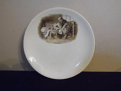 """Small  HARKER POTTERY Semi Porcelain Memories Old Lady With Trunk 6 1/2"""" D"""