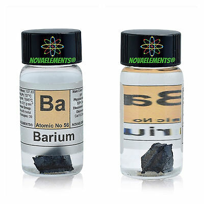 ~ 1 gram 99,6% Barium Metal Element 56 Ba sample pieces in labeled glass vial
