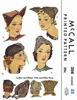 SALLY VICTOR Caps HATS LADIES HOME JOURNAL Vintage #1273 Fabric Sewing Pattern
