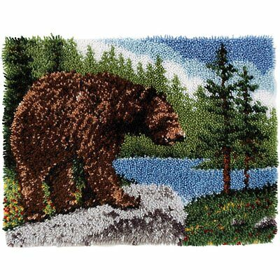 Classic Latch Hook Rug Kit, 20 x 30 Inch, Grizzly Bear Nature Scene Craft NEW