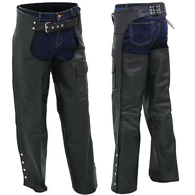 Black Solid Genuine Leather Motorcycle Riding Chaps with Full Lining Adjustable