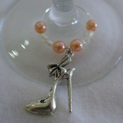 WINE GLASS RINGS Stiletto High Heel Shoes Charms with coloured beads - set of 6