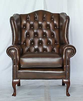 Queen anne chesterfield high back armchair-brown- real leather- modern vintage