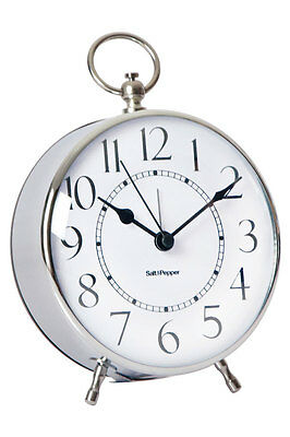 NEW Salt&Pepper Zone 12x15cm Silver Metal Alarm Clock