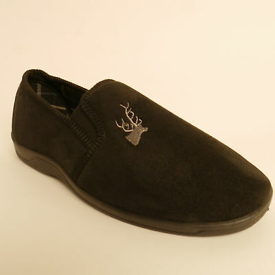 Mens Lotus Jack Classic Micro Suede  Mens Slippers Black New £13.99