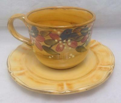 Tea/Coffee cup & saucer, 3D Yellow Floral, Hand painted artist signed, FRANCE
