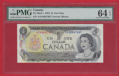 ✪ 1973 AXA Test Note 0847407 Canada $1 Lawson Bouey PMG 64 EPQ Ch Unc BC-46aT-i
