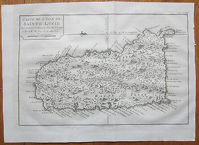 BELLIN: Map Island of St. Lucia  - 1750