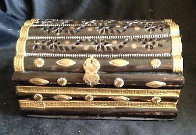 Antique Asian Wooden Jewelry Box Brass Decoration