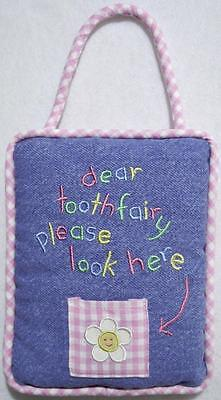 """Girls Embroidered Blue Denim & Pink Gingham Tooth Fairy Pillow 6"""" X 7""""~New"""