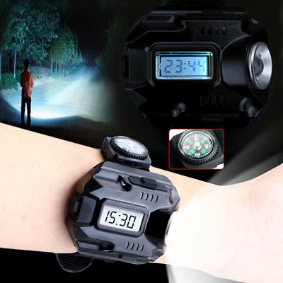 1000LM Tactical Rechargeable CREE LED Wrist Watch Flashlight Torch Lamp Light