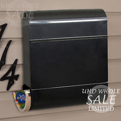 Lockable Vegas Black Wall Fix Post Mail Box Outdoor Letter Holder News Paper