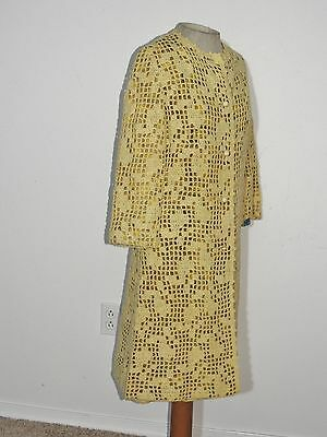 1950-60's Nat Allen Knitted Dress Lined w Printed Organza and Matching Coat MED