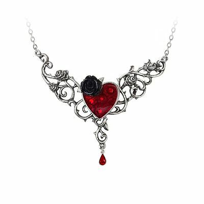 Alchemy Gothic Blood Rose Heart Pewter Necklace BRAND NEW