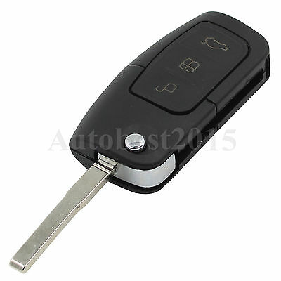 3 Button Flip Remote key Fob Case+Blank Flat Blade For Ford Focus Fiesta Mondeo