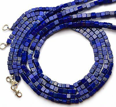 "Natural Gem Lapis Lazuli 5.5Mm Cube Shape Beads 160Cts. 16"" Complete Necklace"
