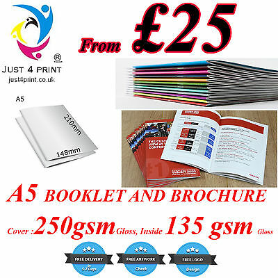 A5 Stapled Brochures Booklet Printing Cover 250GSM , Inside135GSM Gloss