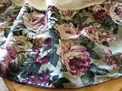 "Dan River Queen Cabbage Roses Bedskirt 14"" Drop Pink Wine Green Floral USA Made"