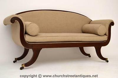 Antque Regency Upholstered Mahogany Scroll End Sofa - Settee
