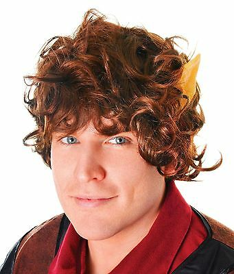 Mythical Wig with Ears Frodo Fancy Dress Lord of The Rings Hobbit Adult Costume