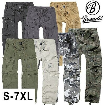 Brandit Herren Security Hose Pure Vintage Cargo Hose Army Style Cargohose lang