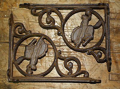 4 Cast Iron WESTERN Style BRONCO Brackets, Garden Braces COWBOY Shelf Bracket
