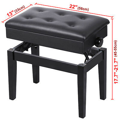Adjustable Classical Piano Stool Bench Storage Padded Wooden Seat Convenience