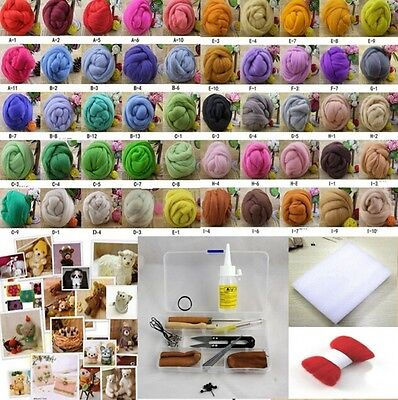 50 Colors Needle Felting Starter Set Wool Felt Kits Needles Felted Mat DIY Tools
