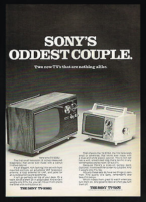 1971 Sony TV Television Odd Couple Model TV 93OU TV-51OU  Vintage Photo Print Ad