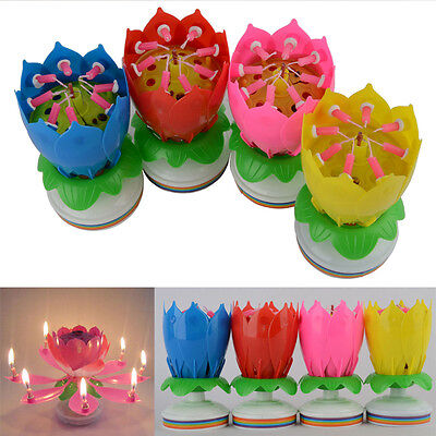 2016 Happy Birthday Magical Blossom Amazing Musical Flower Lotus Rotating Candle