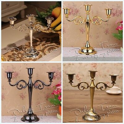 Vintage Metal Candlestick 3Arm Candle Holder Candlelight Table For Wedding Party