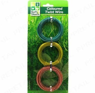 3 X 10M Garden Twist Wire Green / Gold & Bronze Coloured  Camouflaged Freepost!