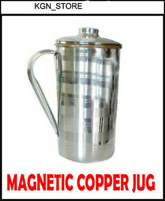 Pure Magnetic Copper Jug with Lid-Slimming For Good Digestion Minerals Water..