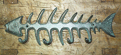 Cast Iron SKELETON FISH Towel Hanger Coat Hooks Hat Hook, Key Rack Hunting Camp