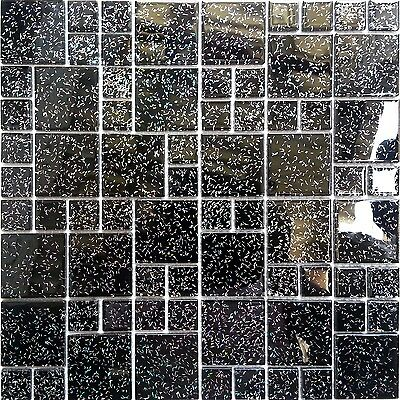 1 SQ M Black Glitter Glass Random Mix Bathroom Shower Mosaic Wall Tiles 0011