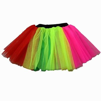 2ce892075e Ladies Neon Rainbow Tutu Layered Skirt Hen Party Accessory Fun Run Fancy  Dress