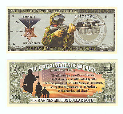 (10) US MARINES MISSION  MILLION  DOLLAR BILL NOVELTY  Military  Collectible --B